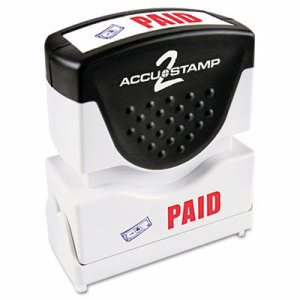 "Accustamp2 ""Paid"" Shutter Stamp with Microban, Red/Blue (COS035535)"