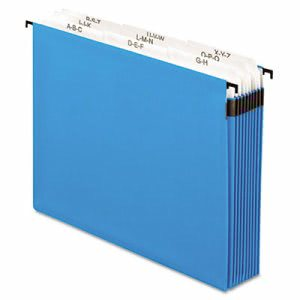 Pendaflex 3 1/2 Inch Expansion Hanging File, Tabs and Labels, Letter, Nine Sections, Blue (PFX59225)