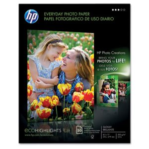 Hp Everyday Photo Paper, Glossy, 8-1/2 x 11, 50 Sheets/Pack (HEWQ8723A)