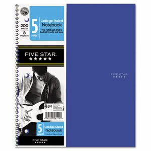 Five Star Trend  Wirebound Notebooks, College rule 8 1/2 x 11, 5 Subject 200 Sheets (MEA06112)