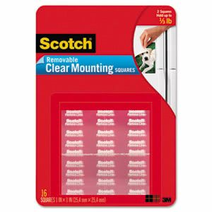 Scotch Mounting Squares, Precut, Removable, Clear, 35 Squares (MMM859)