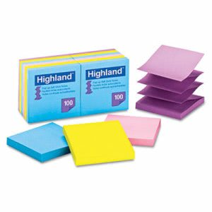 Highland Self-Stick Notes, 3 x 3, 100 Sheets (MMM6549PUB)