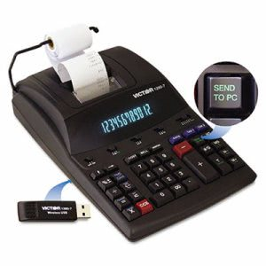Victor 2-Color Printing Calculator w/USB, 12-Digit, Black/Red (VCT12807)