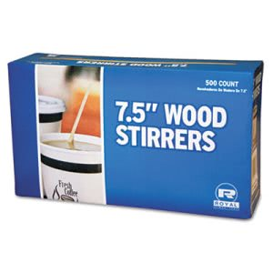 "Wood Coffee Stirrers, 7-1/2"" Length, 5,000 Stirrers (RPPR825CT)"