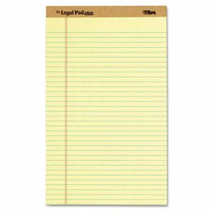 Tops The Pad Plus Ruled Perforated Pads, 8 12 x 14, Canary, 12/Pack (TOP71572)