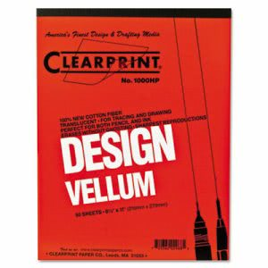 Clearprint Design Vellum Paper, White, 8-1/2 x 11, 50 Sheets/Pad (CHA10001410)