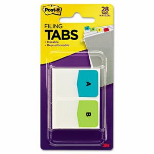 Post-it Preprinted File Tabs, 1 x 1 1/2, Letters A-Z, 28/Pack (MMM686ALPHA)