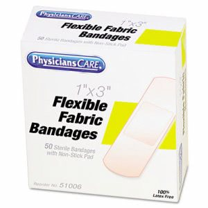 "Physicianscare First Aid Fabric Bandages, Box of 50, 1"" x 3"" (ACMG121)"