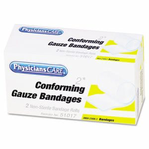 "Physicianscare First Aid Conforming Gauze Bandage, 2 Rolls, 2"" (ACM51017)"