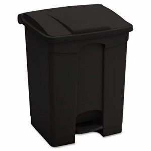 Safco Large Capacity Plastic Step-On Receptacle, 17 gal, Black (SAF9922BL)