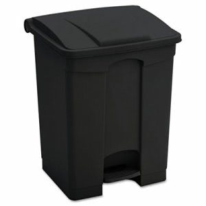 Safco Large Capacity Plastic Step-On Receptacle, 23 gal, Black (SAF9923BL)