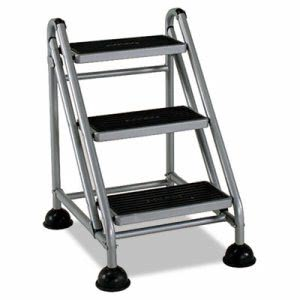 Cosco Rolling Commercial Step Stool, 3-Step (CSC11834GGB1)