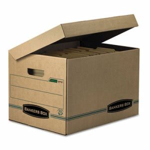 Bankers Storage Box, Letter, Attached Lid, Kraft/Green, 12 per Carton (FEL12772)