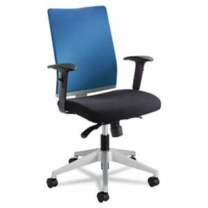 Safco Manager Synchro-Tilt Task Chair, Black Mesh/ Blue Fabric Seat (SAF7031CO)