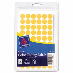 Avery Removable Self-Adhesive Color-Coding Labels, 1/2in dia, Neon Orange, 840/Pack (AVE05062)