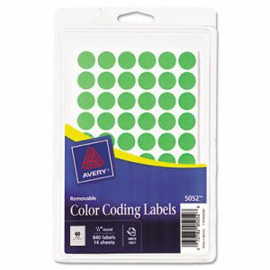 "Avery Removable Color-Coding Labels, 1/2"" dia, Neon Green, 840 Labels (AVE05052)"
