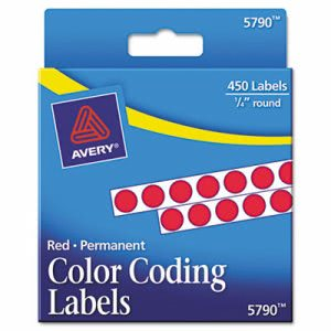 Avery Permanent Self-Adhesive Color-Coding Labels, 450 per Pack (AVE05790)