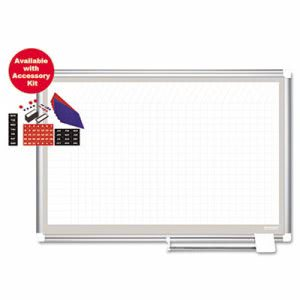 MasterVision Porcelain Planner Dry Erase w/Accessories, 1x2 Grid, 72x48, Silver (BVCCR1232830A)