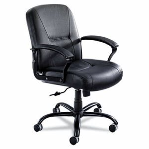 Safco Serenity Big & Tall Mid-Back Chair, Black Leather (SAF3501BL)