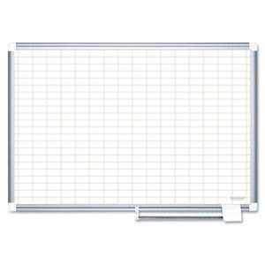 "Mastervision MasterVision Grid Planning Board, 1x2"" Grid, 72x48, White/Silver (BVCMA2792830)"