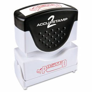 "Accustamp2 ""Posted"" Shutter Stamp with Microban, 1 5/8 x 1/2, Red (COS035580)"