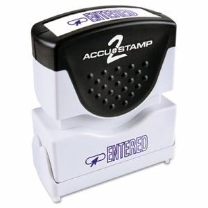 "Accustamp2 ""Entered"" Shutter Stamp with Microban, Blue, 1 5/8 x 1/2 (COS035573)"