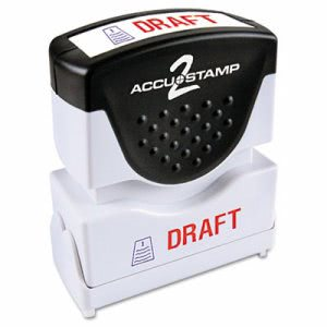 "Accustamp2 ""Draft"" Shutter Stamp with Microban, Red/Blue (COS035542)"