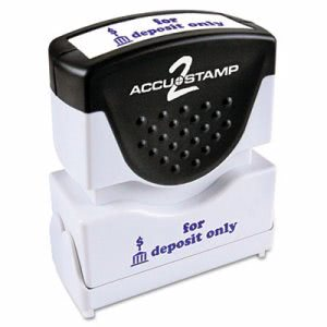 Accustamp2 Shutter Stamp with Microban, Blue, FOR DEPOSIT ONLY (COS035601)