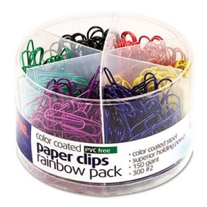 Officemate Plastic Coated Paper Clips, Assorted Colors, 450 Clips/Pk (OIC97227)