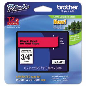 Brother P-touch TZe Standard Laminated Labeling Tape, Black on Red (BRTTZE441)