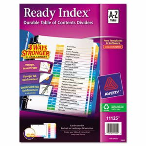 Avery Ready Index Table of Content Divider, Title: A-Z, Multi, Letter (AVE11125)