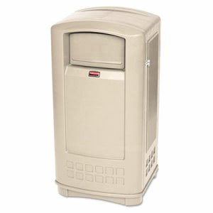 Rubbermaid Plaza Indoor/Outdoor 35 Gallon Waste Container, Beige (RCP9P9000BG)