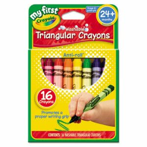 Crayola My First Washable Triangular Crayons, Wax,16/Set (CYO811316)