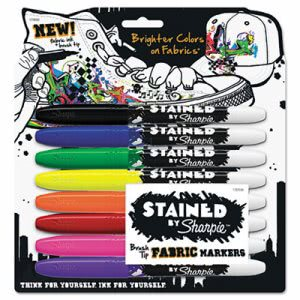 Sharpie Stained Permanent Fabric Marker, Assorted, 8/Pack (SAN1779005)
