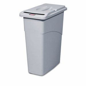 Rubbermaid Slim Jim 23 Gallon Receptacle with Lid, Gray (RCP9W15LGY)