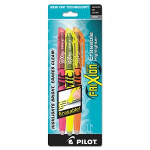 Pilot Erasable Highlighter, Assorted Ink, Chisel, 3 per Pack (PIL46507)