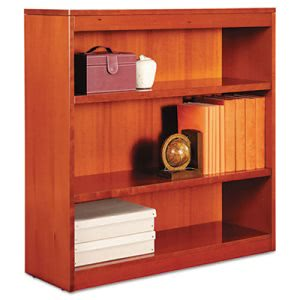 Alera Square Corner Wood Veneer Bookcase, 3-Shelf, Medium Cherry (ALEBCS33636MC)