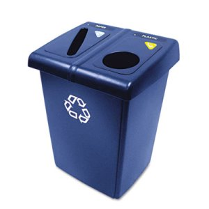 Rubbermaid 2-Stream Glutton Recycling Station, 46 Gallon, Blue (RCP 1792339)