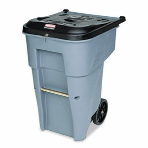 Rubbermaid 9W1088 Roll-Out 65 Gallon Waste Container, Square, Gray (RCP9W1088GY)