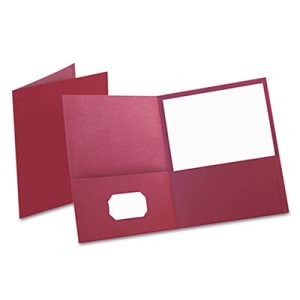 Oxford Twin-Pocket Folder, Embossed Leather Grain Paper, Burgundy (OXF57557)