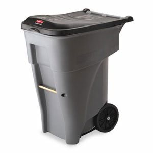 Rubbermaid 9W21 Brute 65 Gallon Heavy Duty Rollout Trash Can, Gray (RCP9W21GY)