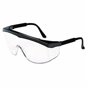 Crews Stratos Safety Glasses, Black Frame, Clear Lens (CRWSS110)