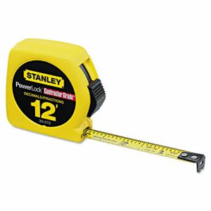 "Stanley Tools Die Cast Tape Rule, Decimal-Fraction, 1/2"" x 12', Ylw (BOS33272)"
