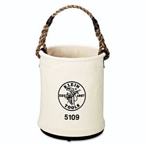 "Klein Tools Wall Bucket, Canvas, White, 15"" Height, 12"" Diameter (KLN5109)"