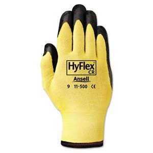 HyFlex Lightweight Assembly Gloves, Black/Yellow, Size 10, 12 Pair (ANS1150010)