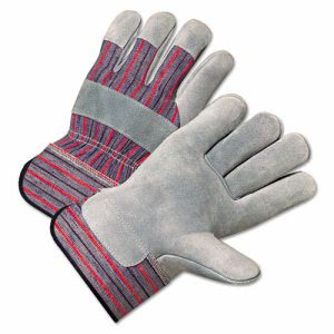 Anchor Brand 2000 Series Leather Palm Gloves, Gray/Red, 12 Pairs (ANR 2100)