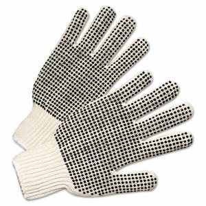 Anchor Brand PVC-Dotted String Knit Gloves, Natural White/Black (ANR6705)
