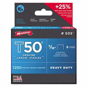 "Arrow T50 Type Staples, 5/16"", .050 Wire (ARR505)"