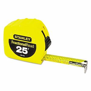 "Stanley Tools Tape Rule, 1"" x 25ft, Steel Blade, Plastic Case, Yellow (BOS30454)"