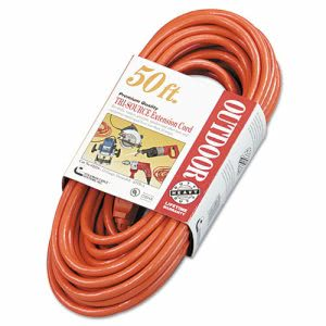 Cci Vinyl Outdoor Extension Cord, 50 Ft, Three Outlets, Orange (COC04218)